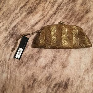 The Limited gold beaded wristlet NWT